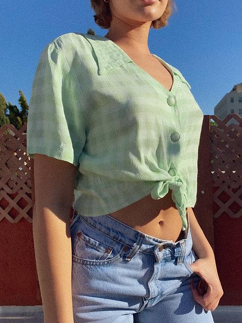 Vintage Apple Green Gingham Top S-L