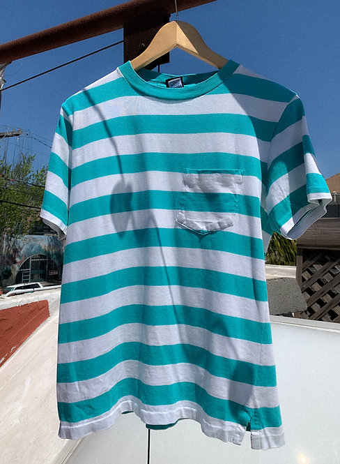 90s Teal Stripe Pocket Tee S
