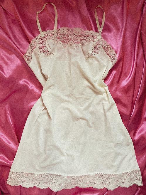 True Vintage Ivory Princess mini Slip + Lace detail SM