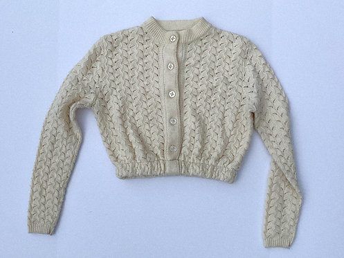 Cream Zig-Knit Crop Cardigan