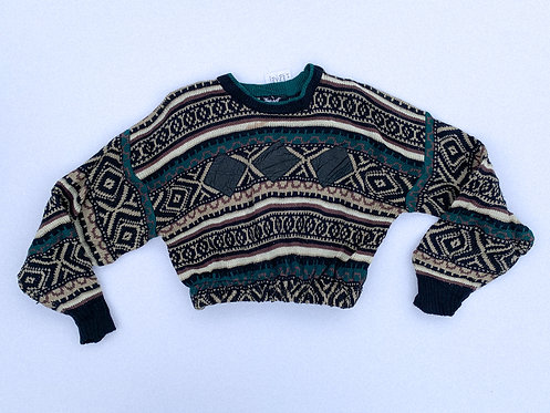 Wild Pattern & Leather Patch Trio Crop Sweater
