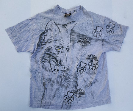 90s Harley Heather Wolf All Over Print Tee XL