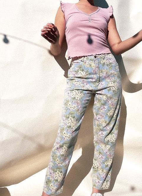 "27"" Waist 90's Floral Cotton Spring Jeans"