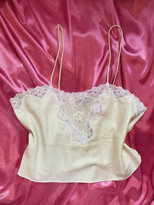 True VTG Ivory Slip TankLace Peek- a -boo accents  LG/XL