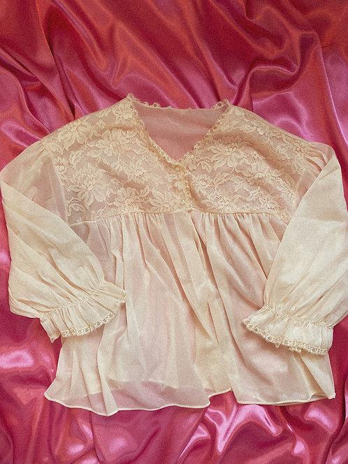 True Vintage BB Pink Sheer Princess Button Top  SM