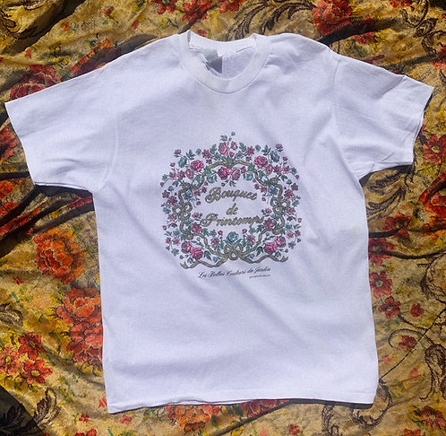 VTG Pretty French Florals Romance Tee M-L
