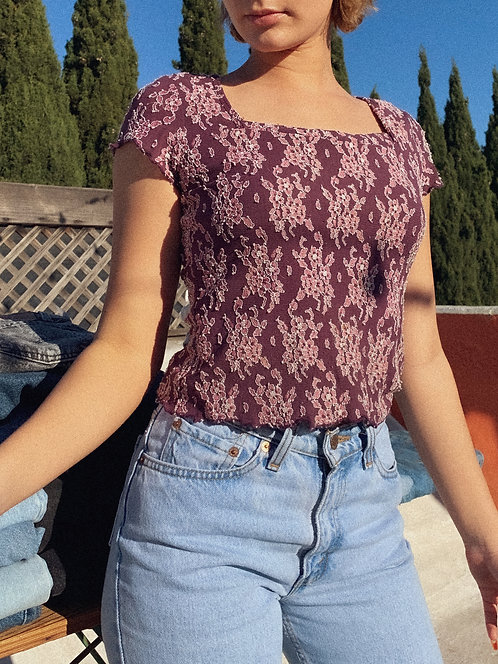 90s Textured Lil Purp Top, Stretchy