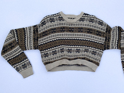 Neutral Tans Pattern Crop Sweater