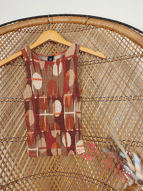 90s Abstract Smocked Stretch Tank S-M