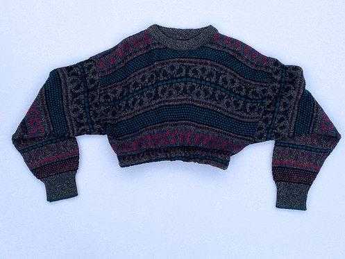 Chunky Teal & Grey Pattern Crop Sweater