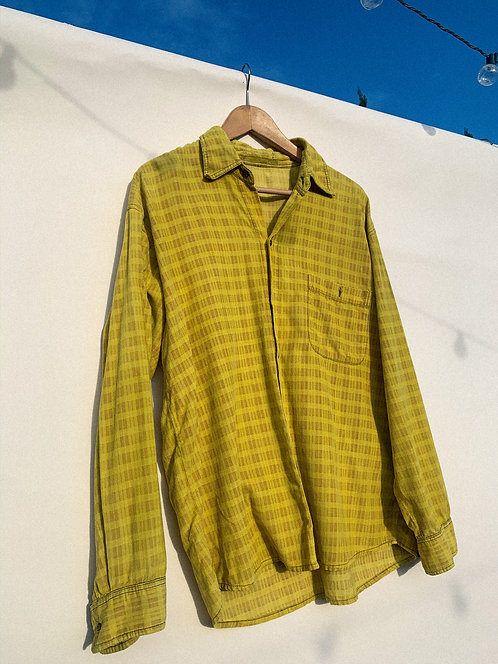"""Kurt"" Grid Yellow Micro-Corduroy Button"