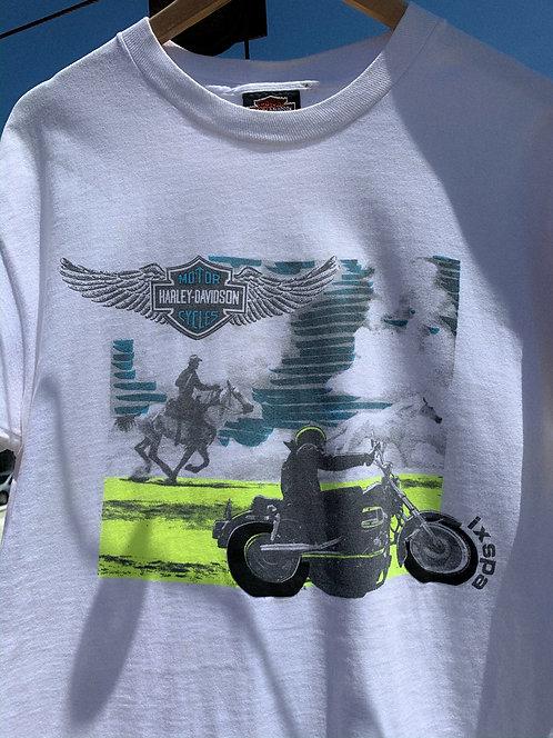 90s Harley Davidson Horse vs. Harley ixspa Tee L