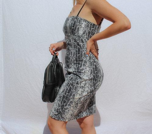 INSANE 90's Snakeskin Perf Fit Dress WOW M/L