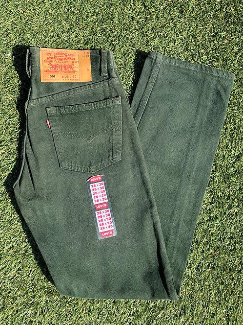 "90s 25/26"" Levi's Deadstock Ivy Green 501 Denim"