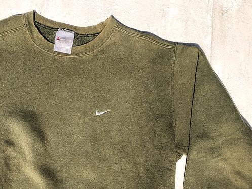 90s Nike Olive Chest Logo Crewneck M