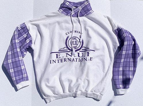 90's ENUF Comfy AF Plaid Two-Tone Sweatshirt L-XL