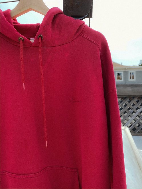90s Nike Deep Red Chest Logo Hoodie XL