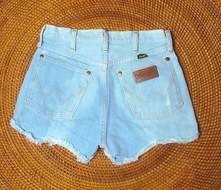 "28"" Vtg Wranglers Bleach Wave Denim Cutoffs"