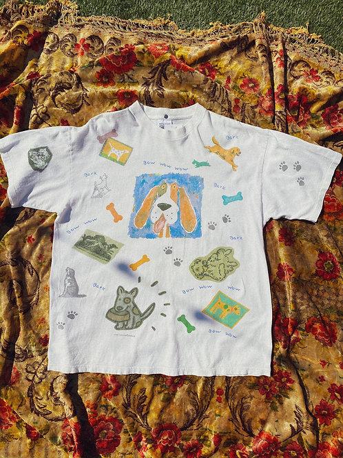 90's SICK All Over Dog Print Art Tee L-XL