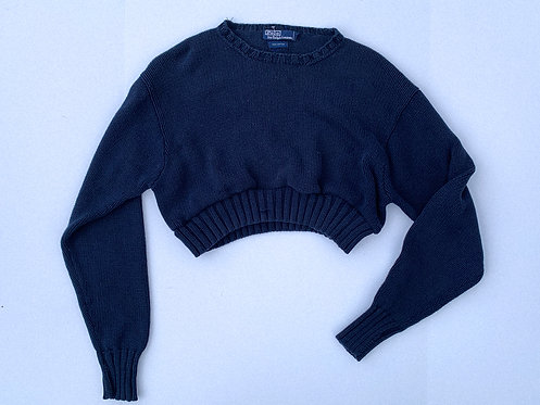 Polo RL Navy Crop Sweater