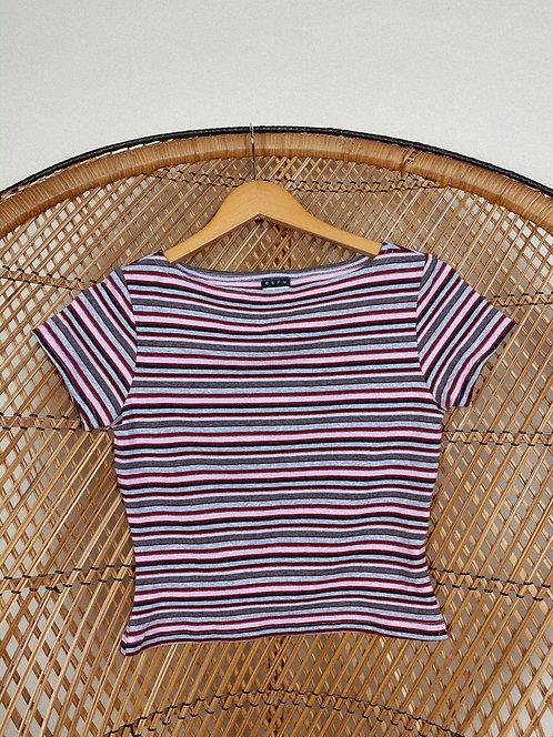 90's Cute Lil Cotton Striped Tee M-L