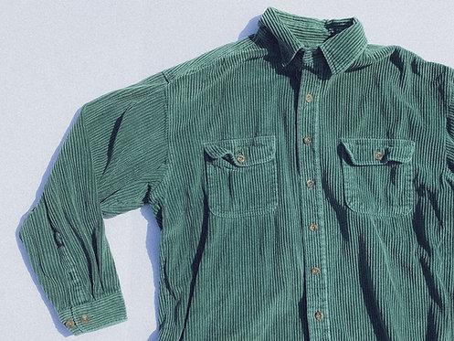 90s Emerald Green Thick Cord Button L