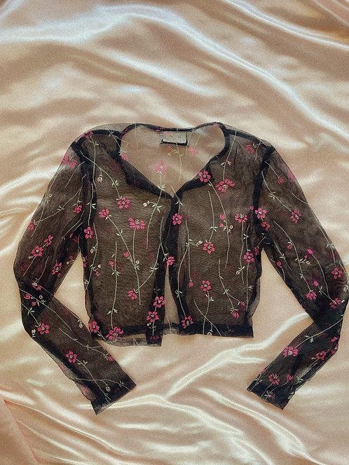 90's Gal Next Door Sheer Pattern Button Top S/M