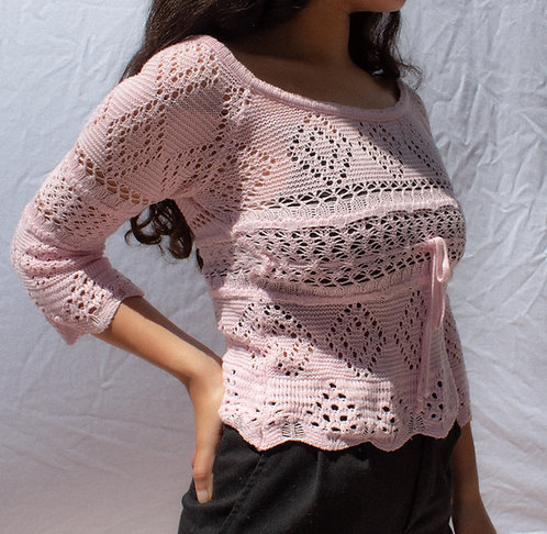 90's Pink Girl Next Door Knit Top S/M