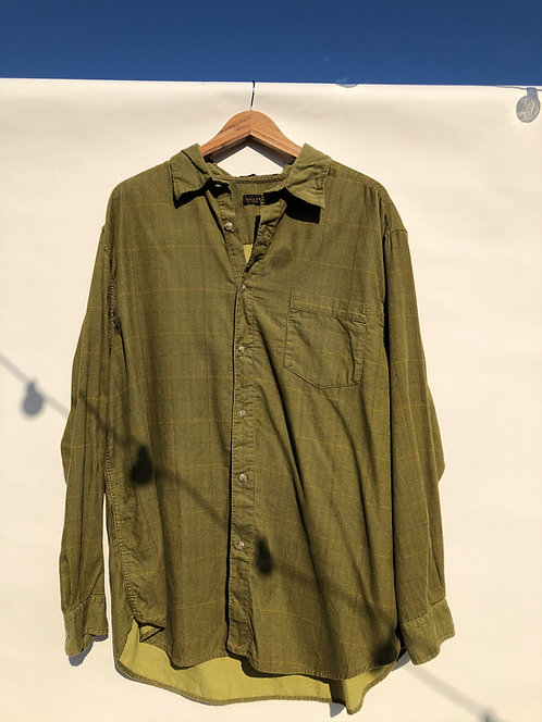 Multicolor Grid Green Dyed Micro-Corduroy Button