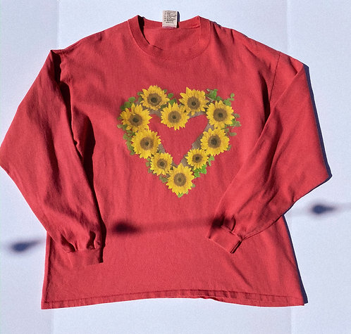 90's CUTE AF Sunflower Heart Thick Long Sleeve L-XL
