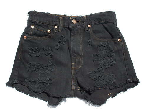 "25/26"" 90s Levi's Thrashed Black-Dyed Denim Cutoffs"