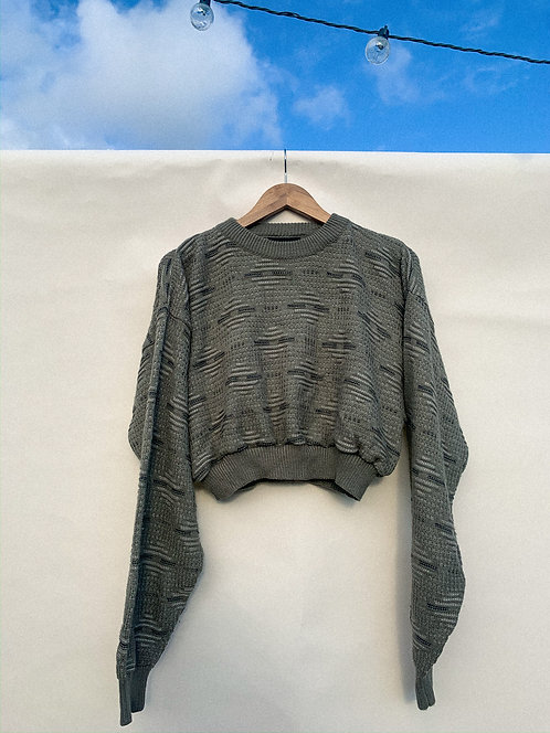 Tan Mini-Grid Pattern Crop Sweater