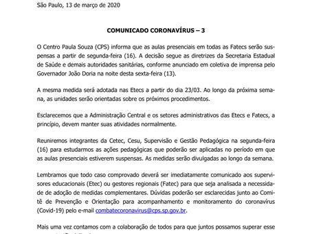 COVID-19 - Atenção ao comunicado do CPS