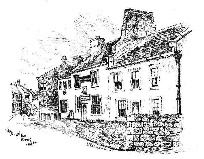 The Angel Inn Corbridge Pen/ink
