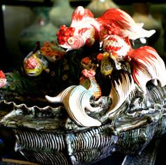 Ceramic Handmade Gold Fish Fong-Shui Fountain