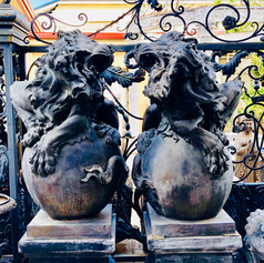 Pair of Bronze Lions on Marble Bases