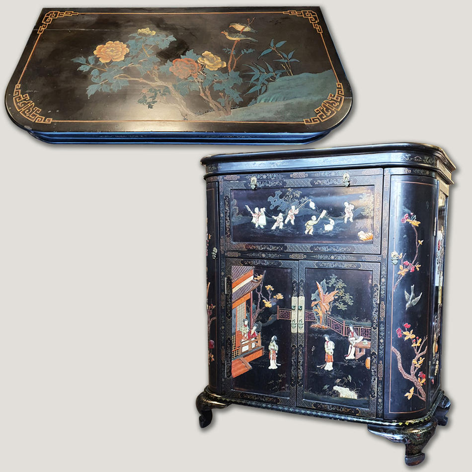 Vintage Chinese lacquer cocktail cabinet with semi precious stone inlaid after restoration