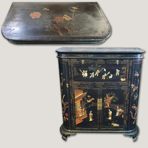 Vintage Chinese lacquer cocktail cabinet with semi precious stone inlaid before restoration