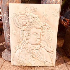 Marble Quan-Yin wall plaque