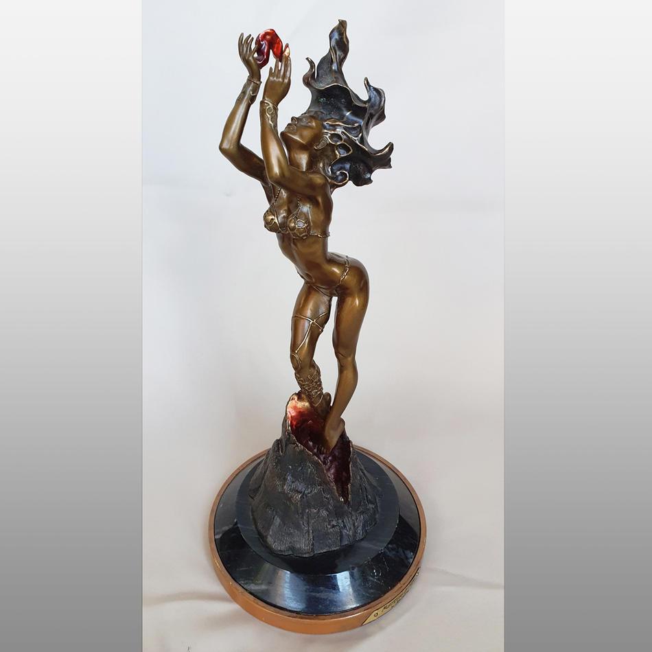 Contemporary Bronze statue Mistress of Fire after restoration