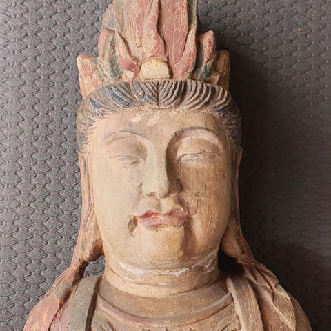 Craved wood polychrome QuanYin bust statue after restoration