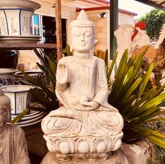 Mable sitting Buddha on lotus base