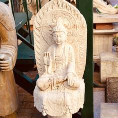 Marble sitting Buddha on base