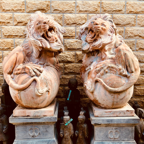 Pair Carved Mable Lions on Plinth