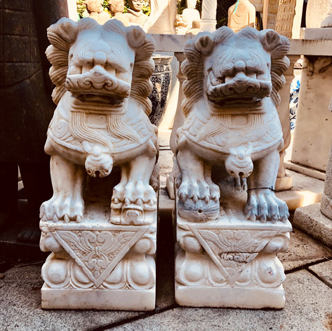 Pair carved stone fu-dog
