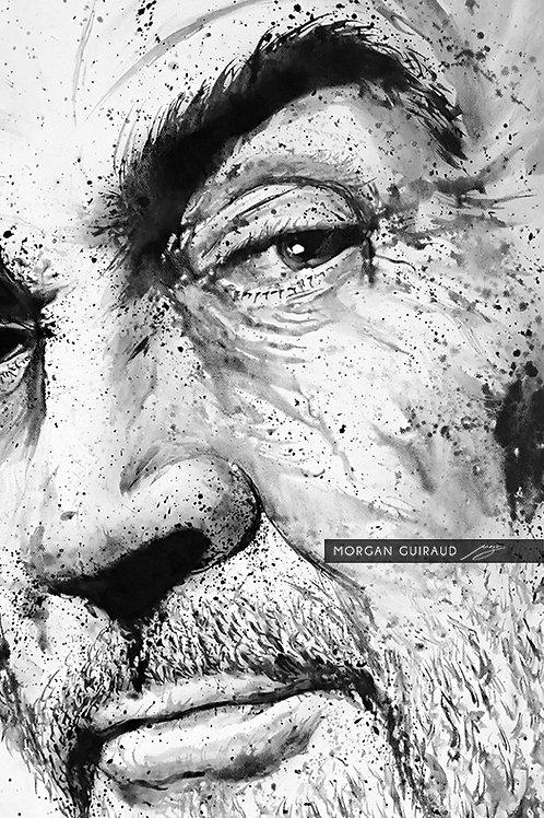 Sean Connery painting portrait pop art mixed media
