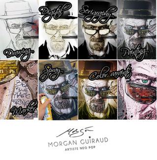 Artwork process | Drawing > Digital retouching > Serigraphy > Painting > Marker gradient