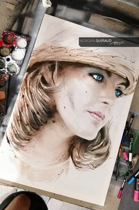 Romy Schneider Sissi portrait neo pop art - Hand finish Silkscreen Variant