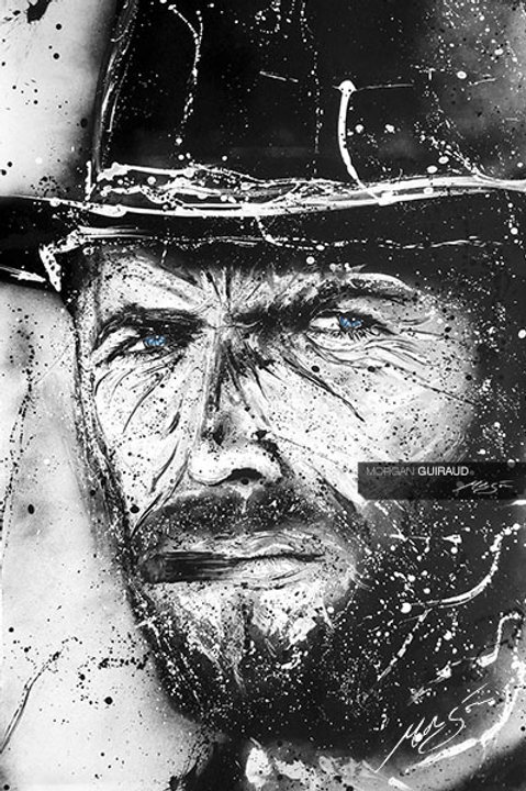 """Clint Eastwood """"Steel Gaze"""" street art painting"""