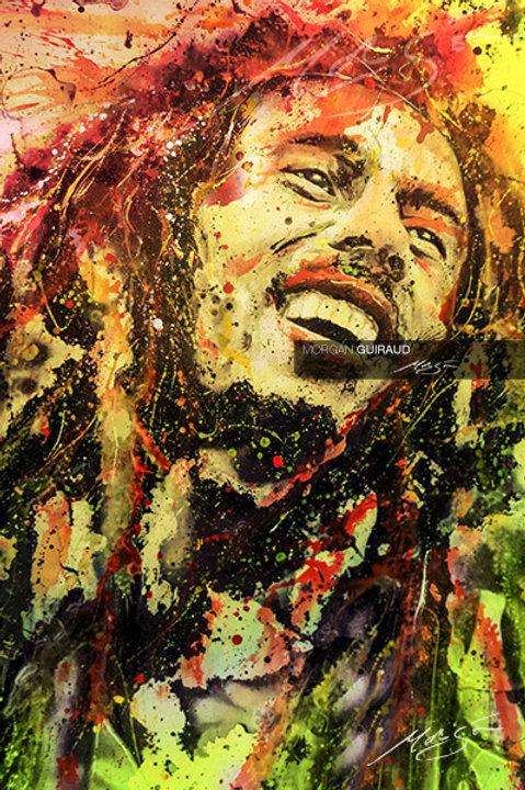Bob Marley - Jamaican Reggae Legend Silkscreen Painting